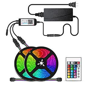 povoljno Kntrola putem aplikacije-2x5M Savitljive LED trake Setovi svjetala RGB svjetleće trake 300 LED diode SMD5050 10mm 1 12V 6A adapter 1 24Ključuje daljinski upravljač 1set Više boja Vodootporno APP kontrola Cuttable 12 V