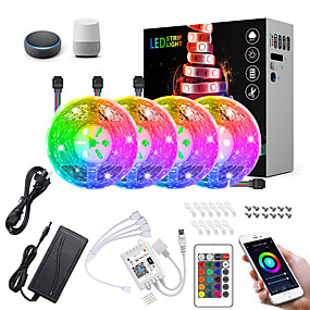 cheap WiFi Control-20M(4x5M) LED Light Strips RGB Tiktok Lights Intelligent Dimming App Control Waterproof Flexible 5050 SMD 600 LEDs IR 24 Key Controller with Installation Package 12V 8A Adapter Kit