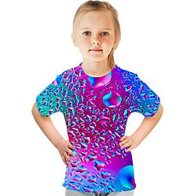 tanie 3D-Dzieci Dla dziewczynek Podstawowy Moda miejska Kolorowy blok 3D Nadruk Krótki rękaw T-shirt Tęczowy