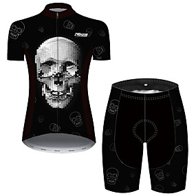 cheap Cycling & Motorcycling-21Grams Women's Short Sleeve Cycling Jersey with Shorts Summer Spandex Polyester Black+White Plaid Checkered Patchwork Sugar Skull Bike Clothing Suit Ultraviolet Resistant Quick Dry Breathable Back