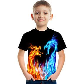 cheap Boys' Clothing-Kids Boys' T shirt Tee Short Sleeve Dragon 3D Print Graphic Flame Causal Children Easter Summer Tops Active Streetwear Yellow Red Rainbow 3-12 Years