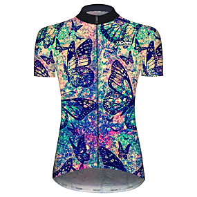 cheap Cycling & Motorcycling-21Grams Women's Short Sleeve Cycling Jersey Summer Black / Blue Butterfly Tie Dye Floral Botanical Bike Jersey Top Mountain Bike MTB Road Bike Cycling UV Resistant Quick Dry Breathable Sports