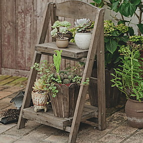 cheap Patio-Cross-border Anti-corrosion Wood Flower Shop Display Stand American Country Famous Indoor Wooden Flower Stand Multi-layer Floor Shelf