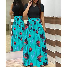 cheap Women's Dresses-Women's Maxi Swing Dress - Short Sleeve Floral Print Patchwork Print Casual Going out White Black Blushing Pink Green Light Green Rainbow S M L XL XXL XXXL