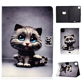 cheap iPad case-Case For Apple iPad Air/iPad Mini 3/2/1/4/5 Card Holder / Flip / Pattern Full Body Cases Cat PU Leather For iPad Air 10.5 2019/iPad 10.2/Pro 11 2020/iPad 2017/iPad 2018