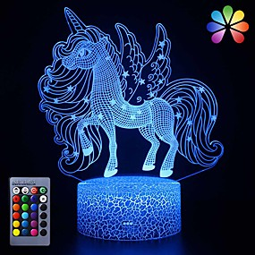 cheap 3D Night Lights-Toys Unicorn Gifts Night Lights for Kids Christams Gifts Birthday  3D Illusion Lamp Animal Light Led Desk Lamps for Boys Girls