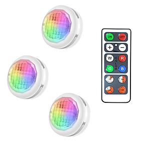 cheap LED Cabinet Lights-3 Lights 1 Remote Controls LED Cabinet Lights Under Cabinet Lighting Wardrobe Lights LED Night Lights Colored Lights Dimmable Home Light Decoration Sensor Lights Including  Simple Installation AAA Bat