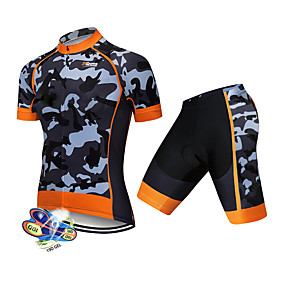 cheap Cycling & Motorcycling-21Grams Men's Short Sleeve Cycling Jersey with Shorts Summer Spandex Polyester Black / Orange Solid Color Camo / Camouflage Bike Clothing Suit UV Resistant 3D Pad Quick Dry Breathable Back Pocket