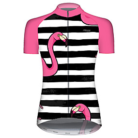 cheap Cycling & Motorcycling-21Grams Women's Short Sleeve Cycling Jersey Summer Black / Red Stripes Flamingo Animal Bike Jersey Top Mountain Bike MTB Road Bike Cycling UV Resistant Quick Dry Breathable Sports Clothing Apparel