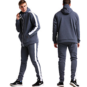 cheap Athleisure Wear-Men's Activewear Set Solid Colored Sports & Outdoors Basic Hoodies Sweatshirts  Black Blue Red