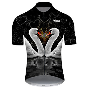 cheap Cycling & Motorcycling-21Grams Men's Short Sleeve Cycling Jersey Summer Spandex Polyester Black+White Heart Swan Animal Bike Jersey Top Mountain Bike MTB Road Bike Cycling UV Resistant Quick Dry Breathable Sports Clothing