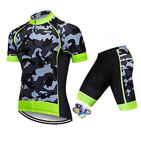 cheap Cycling & Motorcycling-21Grams Men's Short Sleeve Cycling Jersey with Shorts Summer Spandex Polyester Black / Green Solid Color Camo / Camouflage Bike Clothing Suit UV Resistant 3D Pad Quick Dry Breathable Back Pocket