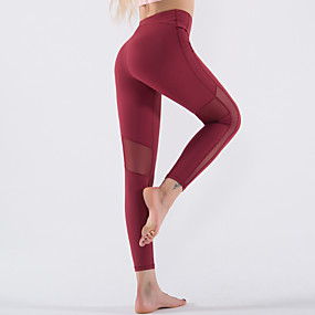 cheap Yoga & Fitness-Women's High Waist Yoga Pants Patchwork Leggings Tummy Control Butt Lift 4 Way Stretch Burgundy Nylon Mesh Fitness Gym Workout Running Sports Activewear Stretchy / Moisture Wicking / Quick Dry