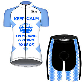 cheap Cycling & Motorcycling-21Grams Women's Short Sleeve Cycling Jersey with Shorts Summer Spandex Polyester Blue+White Plaid Checkered Novelty Crown Bike Clothing Suit Ultraviolet Resistant Quick Dry Breathable Back Pocket