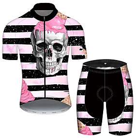cheap Cycling & Motorcycling-21Grams Men's Short Sleeve Cycling Jersey with Shorts Summer Black / Red Stripes Sugar Skull Novelty Bike Clothing Suit UV Resistant 3D Pad Quick Dry Breathable Reflective Strips Sports Stripes