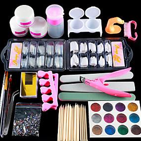 billige Daily Deals-negeldesign 2020 akryl neglekunstsæt manikyr sæt 12 farver neglglitter pulver dekoration akryl pen pensel neglekunst værktøjskit til begyndere aryl flydende negle kit