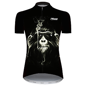 cheap Cycling & Motorcycling-21Grams Women's Short Sleeve Cycling Jersey Summer Spandex Polyester Black Monkey Animal Bike Jersey Top Mountain Bike MTB Road Bike Cycling UV Resistant Quick Dry Breathable Sports Clothing Apparel