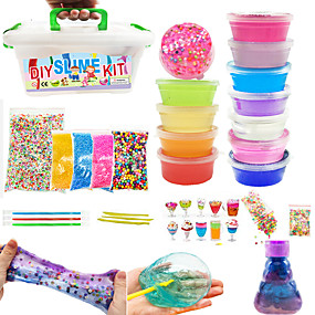 cheap Music, Art & Drawing Toys-12 pcs DIY Slime Kit Slime Charms Rainbow Parent-Child Interaction Making Kits with DIY Tools Kid's DIY Toys Party Favors & Gifts