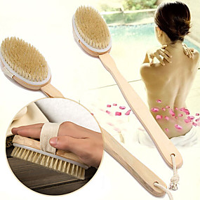 cheap Bathroom Gadgets-Body Dry Brush Natural Boar Bristle Organic Dry Skin Body Brush Bamboo Wet Back Shower Brushes Exfoliating Bathing Brush