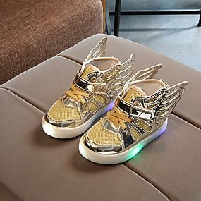 abordables Chaussures Enfant-Fille Confort Polyuréthane Ballerines Petits enfants (4-7 ans) Lumineux Rose / Dorée / Argent Printemps