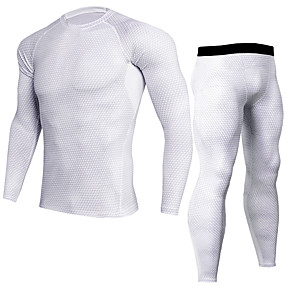 cheap Men's Activewear-JACK CORDEE Men's 2 Piece Activewear Set Workout Outfits Compression Suit Athletic Long Sleeve Moisture Wicking Breathability Quick Dry Fitness Gym Workout Basketball Running Sportswear Snakeskin
