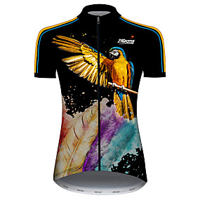 cheap Cycling & Motorcycling-21Grams Women's Short Sleeve Cycling Jersey Summer Spandex Polyester Black / Yellow Feather Parrot Animal Bike Jersey Top Mountain Bike MTB Road Bike Cycling UV Resistant Quick Dry Breathable Sports