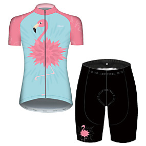 cheap Cycling & Motorcycling-21Grams Women's Short Sleeve Cycling Jersey with Shorts Summer Pink+Green Stripes Flamingo Bike Clothing Suit 3D Pad Ultraviolet Resistant Quick Dry Breathable Reflective Strips Sports Stripes