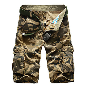 """cheap Camping, Hiking & Backpacking-Men's Hiking Shorts Hiking Cargo Shorts Military Camo Summer Outdoor 12"""" Standard Fit Ripstop Multi-Pockets Quick Dry Breathable Knee Length Shorts Bottoms Army Green Khaki Work Camping / Hiking"""