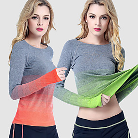 cheap Camping, Hiking & Backpacking-Women's Hiking Tee shirt Long Sleeve Crew Neck Tee Tshirt Top Outdoor Quick Dry Wear Resistance Autumn / Fall Spring Black Orange Green Camping / Hiking Casual Running / High Elasticity