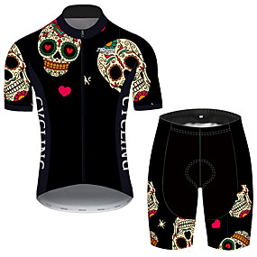 cheap Cycling & Motorcycling-21Grams Men's Short Sleeve Cycling Jersey with Shorts Summer Black / Red Sugar Skull Novelty Skull Bike Clothing Suit UV Resistant 3D Pad Quick Dry Breathable Reflective Strips Sports Patterned