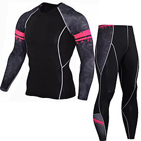 cheap Men's Activewear-JACK CORDEE Men's 2 Piece Activewear Set Workout Outfits Compression Suit Athletic Winter Quick Dry Sweat wicking Fitness Gym Workout Basketball Running Sportswear Skinny Red black Bule / Black