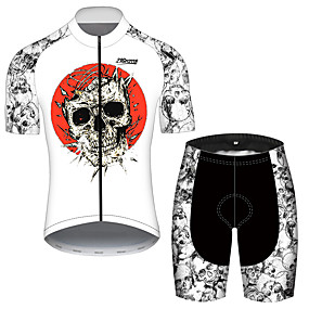 cheap Cycling & Motorcycling-21Grams Men's Short Sleeve Cycling Jersey with Shorts Summer Black+White Sugar Skull Novelty Skull Bike Clothing Suit UV Resistant 3D Pad Quick Dry Breathable Reflective Strips Sports Sugar Skull