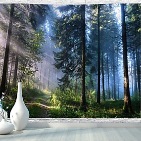 cheap Wall Tapestries-Misty Forest Tapestry Wall Hanging Nature Landscape Tapestry Sunshine Through Tree Tapestries for Bedroom Living Room Dorm Décor (90.5''L×70.8''W)