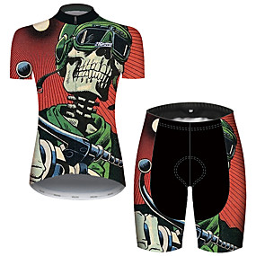 cheap Cycling & Motorcycling-21Grams Women's Short Sleeve Cycling Jersey with Shorts Summer Spandex Polyester Red / Yellow Stripes Sugar Skull Skull Bike Clothing Suit Ultraviolet Resistant Quick Dry Breathable Back Pocket Sweat