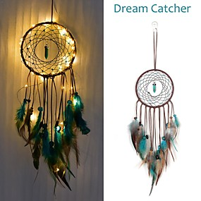 cheap Discount Collection-Dream catcher Led Handmade Dreamcatcher Feathers Night Light dream catchers Wall Hanging Home Room decoration