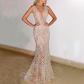 cheap Women's Dresses-Women's Maxi Gold Silver Dress Elegant Sexy Cocktail Party Prom Birthday Trumpet / Mermaid Solid Colored Deep V Glitter S M Slim