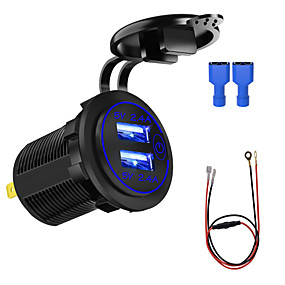 cheap Car Charger-ZH-1026F 5 V Motorcycle Car Charger / Touch Switch 4.8A with Aperture Dual USB Blue / Red / Green  60CM Line / IP66 / Environmentally Friendly Material