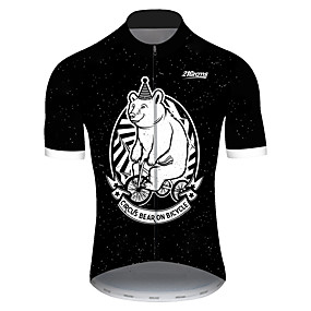 cheap Cycling & Motorcycling-21Grams Men's Short Sleeve Cycling Jersey Summer Spandex Polyester Black+White Bear Animal Bike Jersey Top Mountain Bike MTB Road Bike Cycling UV Resistant Quick Dry Breathable Sports Clothing Apparel