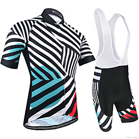 cheap Cycling & Motorcycling-21Grams Women's Short Sleeve Cycling Jersey with Bib Shorts Summer Black+White Stripes Patchwork Bike Clothing Suit 3D Pad Ultraviolet Resistant Quick Dry Breathable Reflective Strips Sports Stripes