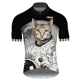 cheap Cycling & Motorcycling-21Grams Men's Short Sleeve Cycling Jersey Summer Spandex Polyester Black+White Cat American / USA Astronaut Bike Jersey Top Mountain Bike MTB Road Bike Cycling UV Resistant Quick Dry Breathable Sports