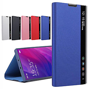 cheap Samsung Case-Smart View Leather Case Cover For Samsung Galaxy S20 Ultra S10 Plus S9 S8 Plus Note 10 Pro Note 9 Note 8 Clear View Window Stand Case