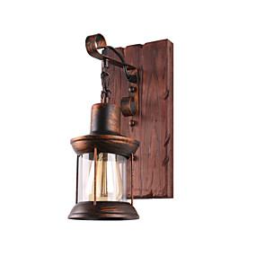 cheap Indoor Wall Lights-Wall Lamp Single Head Industrial Rustic Vintage Retro Wooden Wall Scone Metal Painting Color for The Home Hotel Corridor Decorate Wall Light