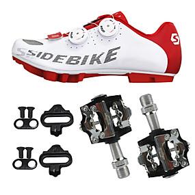 رخيصةأون تصفية-SIDEBIKE للبالغين أحذية لركوب الدرجات مزودة ببدال وماسك Mountain Bike Shoes نايلون توسيد ركوب الدراجة أحمر وأبيض رجالي أحذية الدراجة / ستوكات صناعية PU