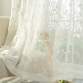 cheap Sheer Curtains-Two Panel Korean Pastoral Style Leaf Embroidery Window Screen Living Room Bedroom Semi-Permeable Screen Curtain
