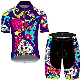 cheap Cycling & Motorcycling-21Grams Men's Short Sleeve Cycling Jersey with Shorts Summer Spandex Polyester Violet Sugar Skull Skull Floral Botanical Bike Clothing Suit UV Resistant Quick Dry Breathable Back Pocket Sweat wicking