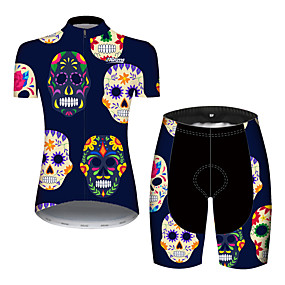 cheap Cycling & Motorcycling-21Grams Women's Short Sleeve Cycling Jersey with Shorts Summer Spandex Polyester Blue Sugar Skull Skull Floral Botanical Bike Clothing Suit Ultraviolet Resistant Quick Dry Breathable Back Pocket