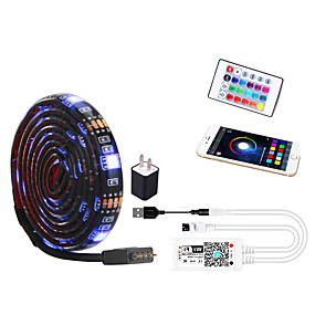 cheap WiFi Control-2m WIFI Control Kit Flexible LED Light Strips Light Sets RGB Tiktok Lights 60 LEDs SMD5050 10mm 1 24Keys Remote Controller 1 set Multi Color Waterproof APP Control USB US EU TV Background 5 V