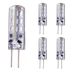 cheap LED Bi-pin Lights-5pcs 1.5 W LED Bi-pin Lights 150 lm G4 24 LED Beads SMD 3014 Red Blue Green 12 V