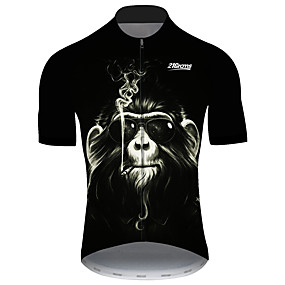 cheap Cycling & Motorcycling-21Grams Men's Short Sleeve Cycling Jersey Summer Spandex Polyester Black Novelty Monkey Animal Bike Jersey Top Mountain Bike MTB Road Bike Cycling UV Resistant Quick Dry Breathable Sports Clothing