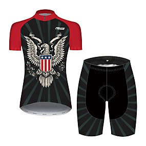cheap Cycling & Motorcycling-21Grams Women's Short Sleeve Cycling Jersey with Shorts Summer Spandex Polyester Black / Red American / USA Eagle National Flag Bike Clothing Suit Ultraviolet Resistant Quick Dry Breathable Back